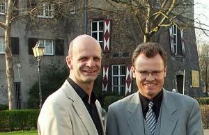 Stefan Zimkeit und Michael Heidinger an der Burg Dinslaken (Archivbild).